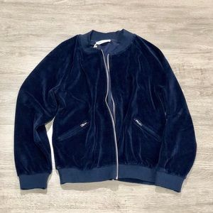 Velvet Zipper Bomber Jacket